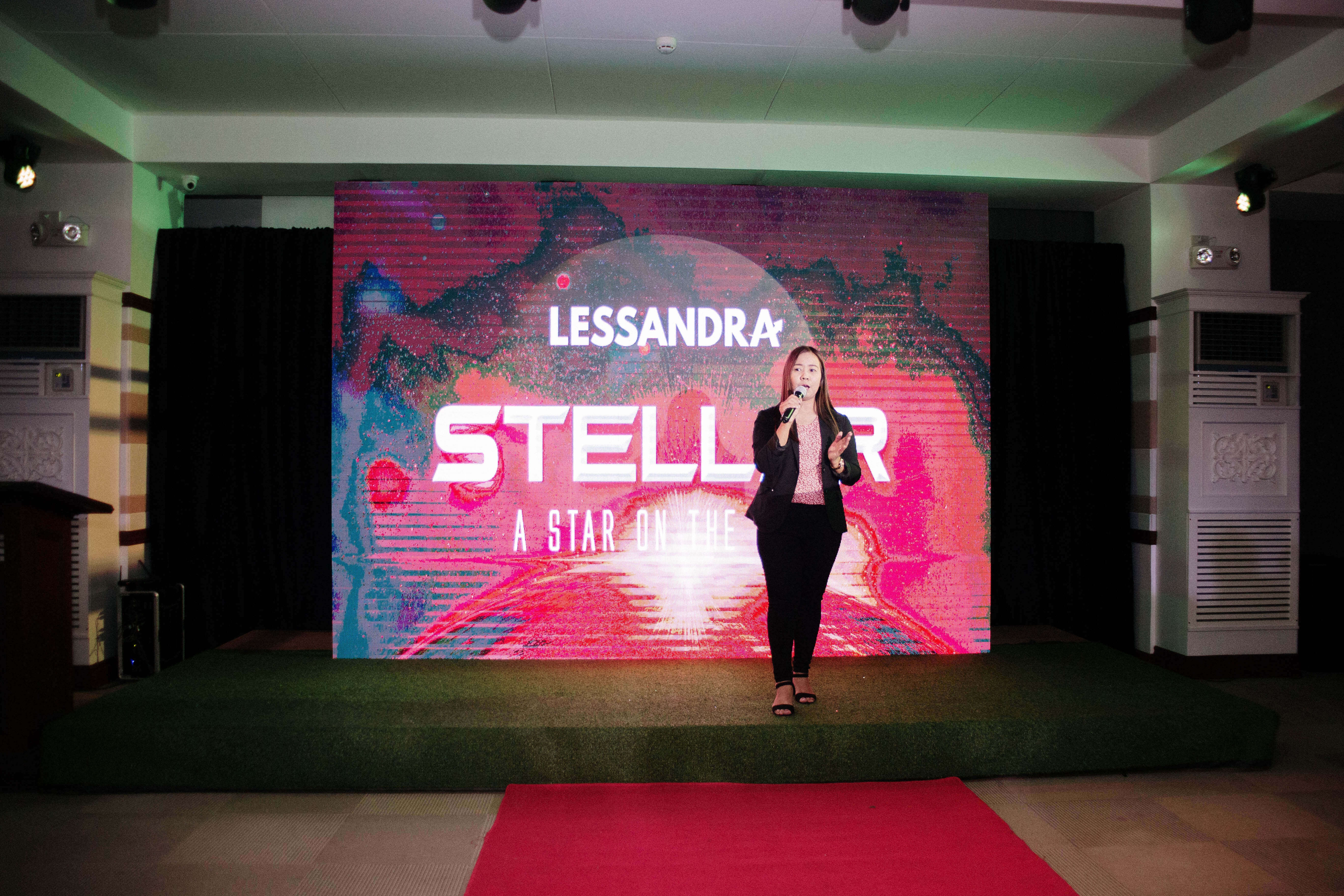 Marketing Head on stage during lessandra stellar